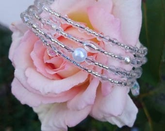WEDDING / GIFT WRAPPED PEARL AND BUTTERFLY CUFF BRACELET