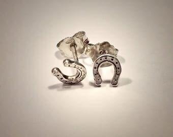 Horseshoes earrings , Studs , Lucky earrings , Silver earrings
