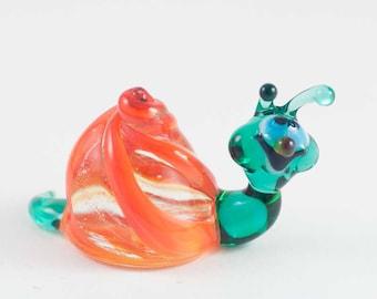 Glass Hand-Blown Glass Snail Collectible  Figurine (sku 021)