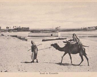 FREE POST - Old Postcard - EGYPT Road to Pyramids - Real Photograph  - Vintage Postcard - Unused