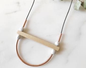Curved Copper Bar Necklace