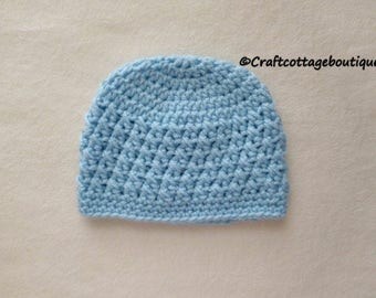 Baby Boy Hat - Crochet Baby Hat - Light Blue Beanie - Infant - Choose Your Size - Photograph Props - Stocking Cap