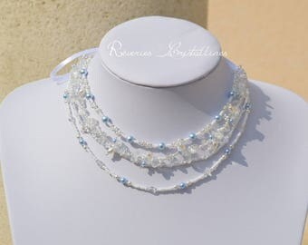 Wedding necklace multi strand, pearls and Swarovski crystals - wedding, bridal necklace, crystal necklace jewelry, french jewelry