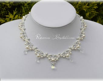 Bridal necklace Pearl White and gray pearls, Swarovski crystals, seed beads, bridal necklace, white and grey crystal drops