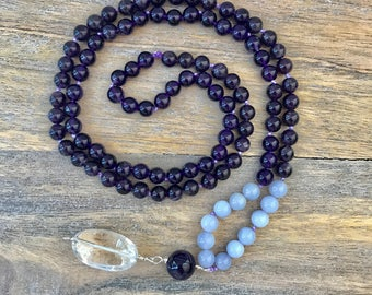 Amethyst and Chalcedony 108 Mala Beads / Meditation Beads/ Japa mala / Long Beaded Necklace / Yoga Jewelry / Buddhist Knotted Necklace