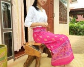 Handmade Boho Festival Wrap Skirt Thai Sarong Wrap Tie Waist Jupe Thai Cotton Skirt