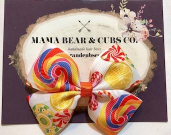 lollipop candy bow, hair bows, hair clips, girls hair bows, hair bows for girls, boutique bows, kids bows