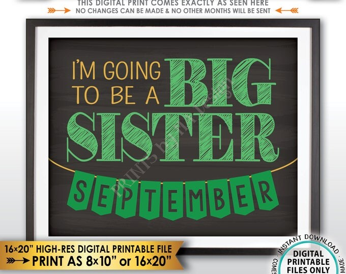 St Patrick's Day Pregnancy Announcement Sign, I'm Going to be a Big Sister in SEPTEMBER Dated Chalkboard Style PRINTABLE Reveal Sign <ID>