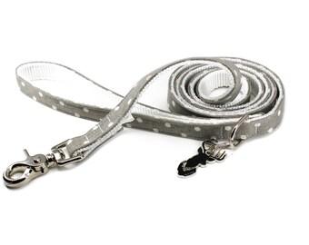 Luxury Dog or Cat Bow Tie - The FRANKIE // Leash (grey polka dot print)