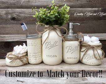 mason jar bathroom set bathroom decor housewarming gift bathroom set mason jar - Bathroom Jar