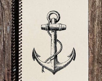 SALE - Anchor Notebook - Nautical Notebook - Nautical Journal - Anchor Journal - Nautical Stationary - Gift for her - Gift for Him