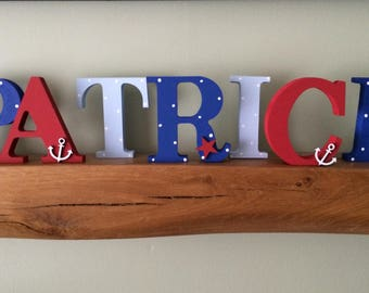 New Baby boy Personalised Gift, Nursery, Nautical, Freestanding Decor, Name, Personalised, stars, Room Decor,10cm letters, Uppercase letters