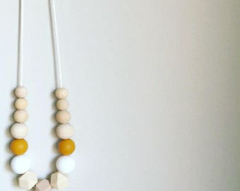 Mustard Naturale Silicone & Timber Necklace