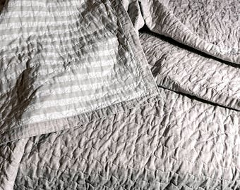 Flax  King size quilts Flax quilted bedspread Double sided quilt  linen quilt bedspread, bedroom decor, King size, Blankets & Throws,
