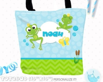 SALE Frog prince Personalized Tote Bags, custom Tote bag, kids tote, school tote, kindergarten tote, beach tote bag, boy Tote Bags TB147