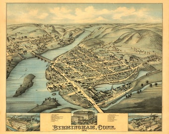 Birmingham Conn Panoramic Map from 1876. This print is a wonderful wall decoration for Den, Office, Man Cave or any wall.