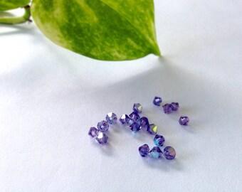 Swarovski Crystal Bicones / Amethyst Bicones / Loose Beads / Crystal Beads / Jewelry Supplies / Art Supplies / Earrings Supplies / Jewelry