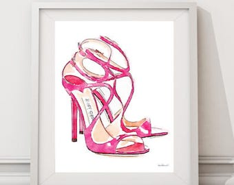 Pink shoes fashion watercolor shoes, high heels, fashion illustration, shoe art, shoe art, high heels,fashion print,fashion art, Strappy