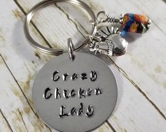 Crazy Chicken Lady Keychain, Chicken gift, Chicken keychain, hand stamped chicken keychain, country girl gift, farm girl gift, chicken lover