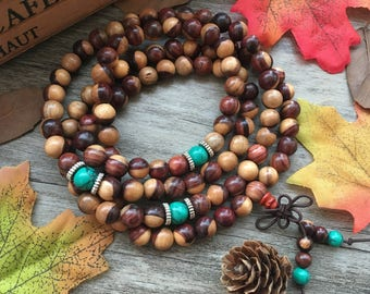 Natural Dalbergia melanoxylon 108 8mm Wooden Beads Black Brown Japa Mala Necklace Yoga Bracelet