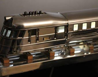 Mid Century Polished Aluminum Train Model,Table Lamp with LED Lights