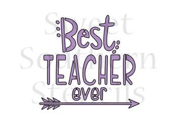 Best Teacher Ever Cookie Stencil