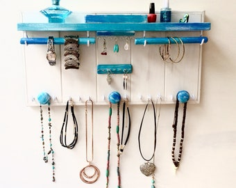 Beach theme jewellery organiser with shelf - Jewelry organizer - Necklace holder - Studs rings box - Earrings - Bangles - Wooden knobs