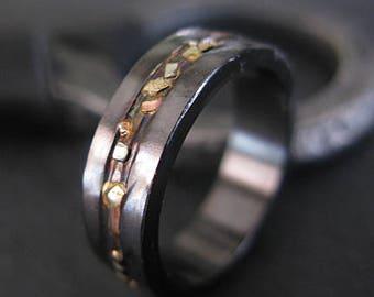 Black Gold Ring Mosaic River 6mm Unisex Ring Size 8 1/4 Mens Rings Mens Wedding Band Viking Wedding Ring Mens Wedding Bands Mens Rings Uniqu