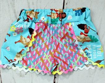 Girls Moana Shorts- Toddler Girls Moana Shorts- Baby Girls Moana Shorts- Moana Birthday- Size 6m, 12m, 18m, 2t, 3t 4t, 5, 6, 7, 8