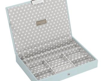 Jewel Storage Duck Egg Blue Lidded Stacker Jewellery Box with Grey Polka Dot Lining