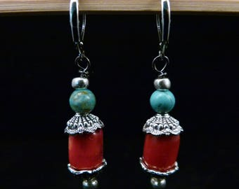 Coral and Turquoise Earrings, E0215