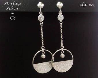 Long Drop Clip On Earrings: Beautiful Sterling Silver Clip On Earrings with CZ | Silver Earrings, ClipOn Earrings, Gifts for Women, Gift 388