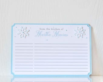 Snowflake Sprinkles Recipe Cards:  Blue & white personalized note cards, gift for mom, gift for her, stationary, cooking  - LRD003RE