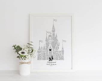 Personalised Disney Engagement Gift, Disney Bride, Disney Wedding, Disney Proposal, Disney Wedding Gift, Cinderella Wedding, Same Sex