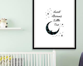Printable Dream Print, Moon and Stars, Moon Art, Printable Art, Moon Wall Art, Moon Nursery, Instant Download, Printable Wall Art