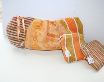Lots of gifts with pouch Beauty + 2 pockets version orange silk lined, chic