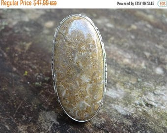 Sale Natural Fossil CORAL Sterling silver RING Size 6 - Natural Stone Ring - Boho Chic Ring - Coral Ring - Natural Stone Ring Size 6