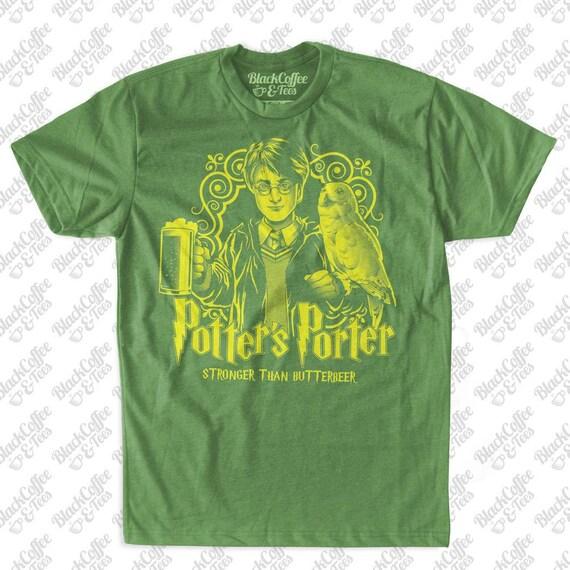 Harry Potter Shirt - St Patricks Day Shirt- Craft Beer Shirt - Harry Potters Porter Butter Beer Hand Screen Printed on a Mens Green T-Shirt