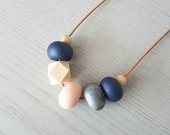 Clay beaded necklace, polymer clay necklace, Navy pink and silver clay bead necklace, necklace, beaded necklace, gift for her