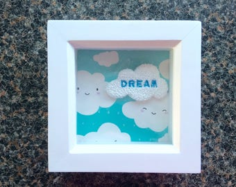 Handmade Clay Cloud inscribed Dream on a Cloud themed background. Mounted in a White Box Frame