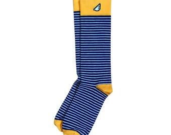 "Colorful Mens Stripe Socks | Christmas Holiday Gift Stocking Stuffer | Wedding Groom Groomsmen | Navy, Gold & White Stripe  ""Underdog"""