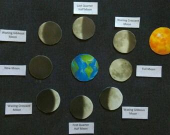 Moon Phases  Felt Board Set // Children //  Space  //  Flannel Board // Preschool //