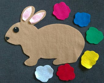 Bunny Tail Felt Set // Rabbits  // Flannel Board Story Set  // Preschool // Teacher Story // Colors //