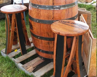Handcrafted Jack Daniels Bar Stools with top of authentic barrel as seat
