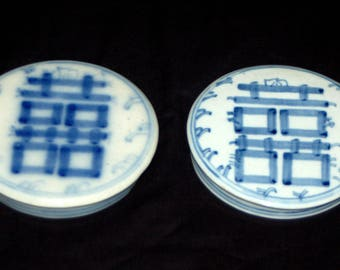Chinese Porcelain Blue & White GINGER JAR LIDS Double Happiness Shangxi Large Canton