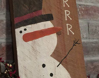 BRRR with Snowman-Handpainted on reclaimed wood 8.5 x 15