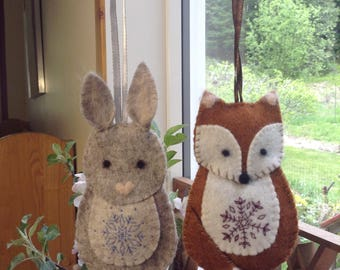 Felted fox and rabbit Christmas ornaments