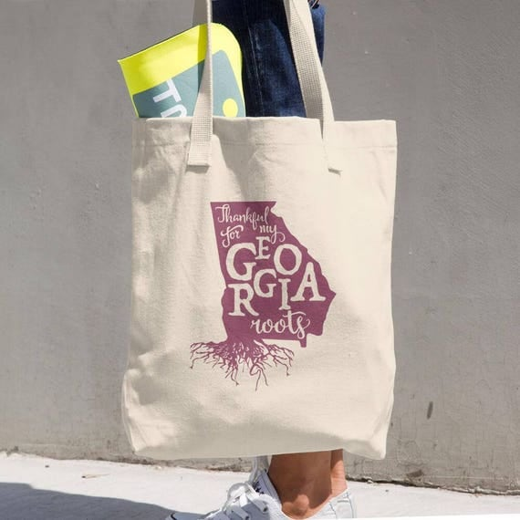 Tote Bag Georgia Roots Made in the USA Cotton Tote Bag - Makes a Great Grocery Bag - Classic All-purpose Natural Cotton Tote