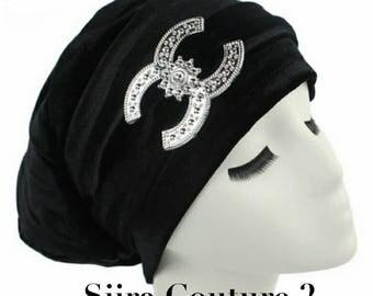 Chanel CC inspired black turban headbands scarf wraps bandanas