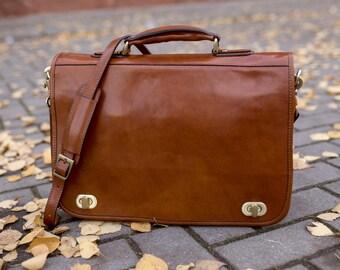 Gift for him, Mens leather briefcase, leather bag, leather messenger bag, mens briefcase, leather laptop bag, shoulder bag men - Illusions